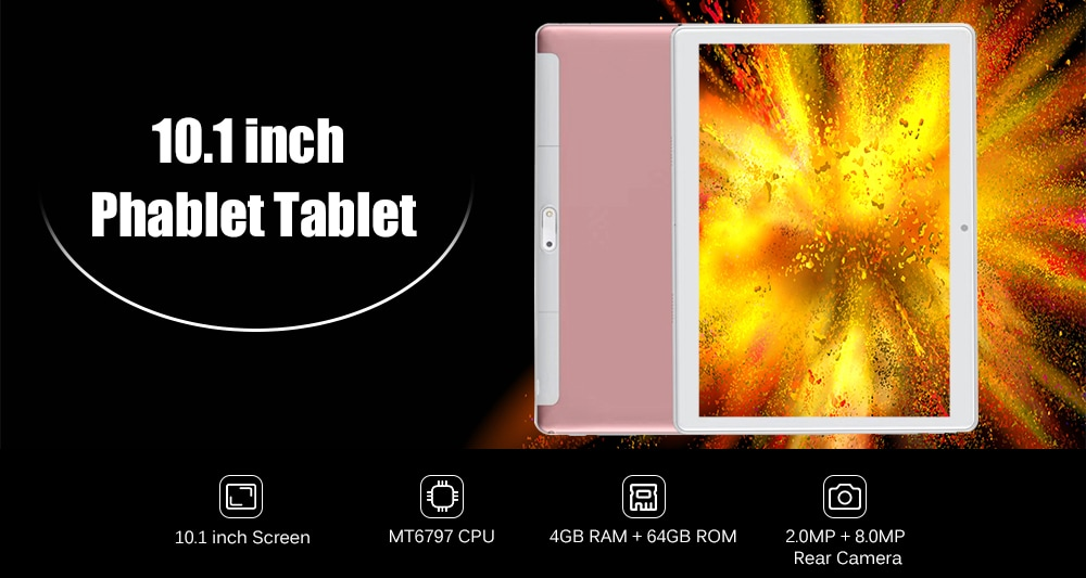 10.1 inch Phablet Tablet PC Android 8.1 MT6797 Deca Core 2.0GHz 4GB RAM 64GB ROM 2.0MP 8.0MP Dual Camera- Gold EU Plug