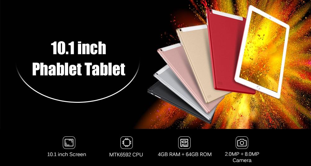 10.1 inch 2G / 3G Phablet Tablet PC Android 7.0 MTK6592 Octa Core 2.0GHz 4GB RAM 64GB ROM 2.0 + 8.0MP Camera- Black EU Plug