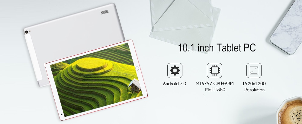 Tablet PC 10.1 inch Android 7.0 OS MT6797 2.0GHz Deca Core CPU 4GB RAM 64GB ROM 8.0MP Camera- Red EU Plug