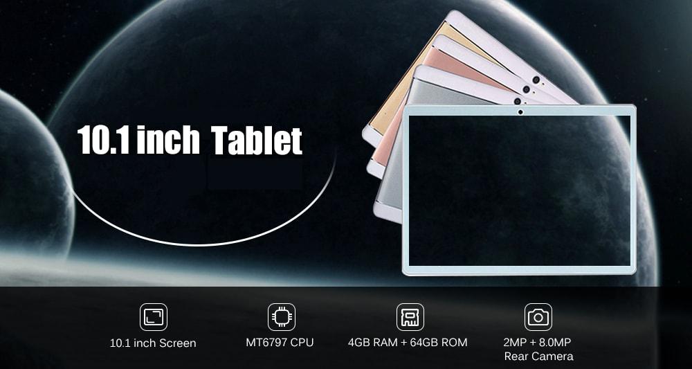 10,1 hüvelykes Tablet PC Android 8.1 MT6797 Deca Core 2,0 GHz-es 4 GB RAM 64GB ROM-rózsaszín EU Plug
