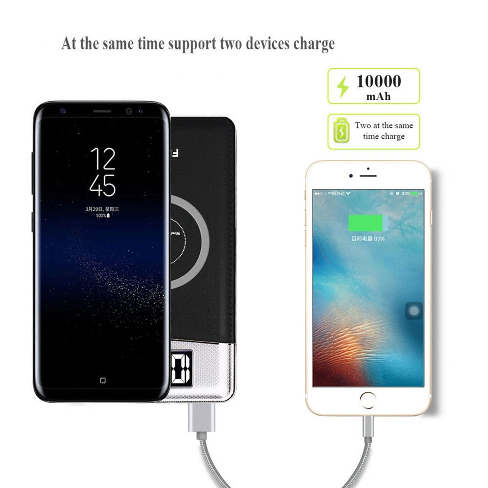 10000mAh Power Bank Qi Wireless Charging 2 USB LCD LED Portable Battery Charger- White