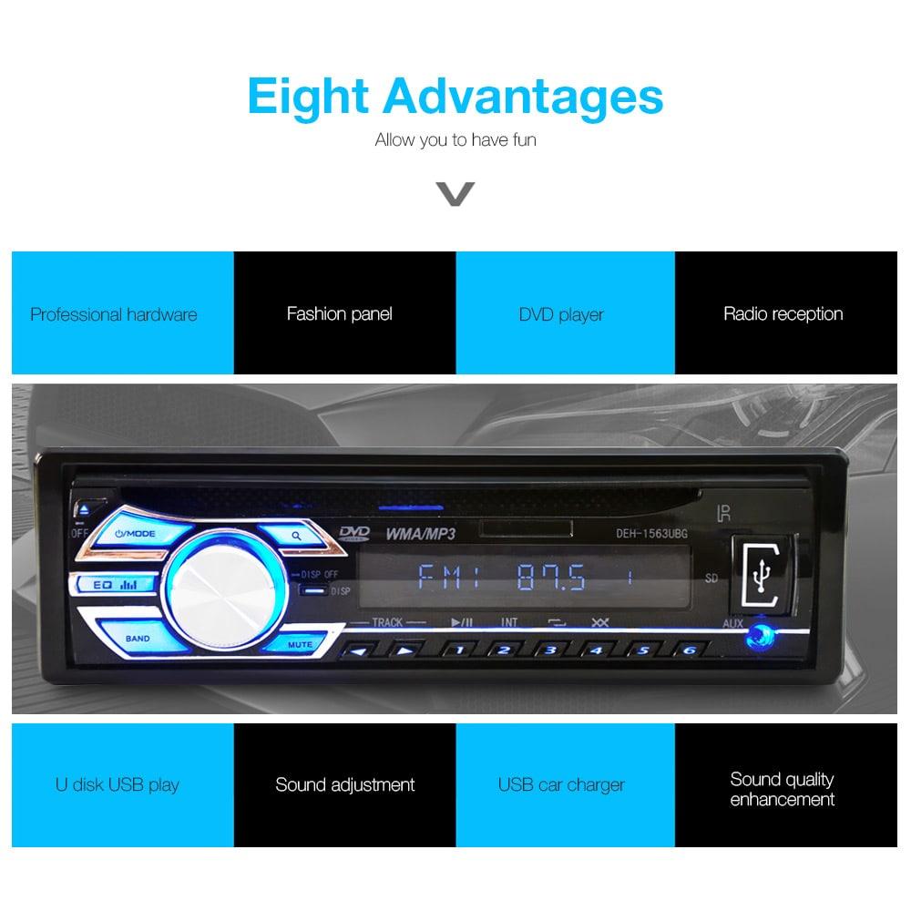 1563U FM autórádió 12V automatikus audio sztereó támogatás SD MP3 lejátszó AUX USB DVD VCD CD-lejátszó - fekete