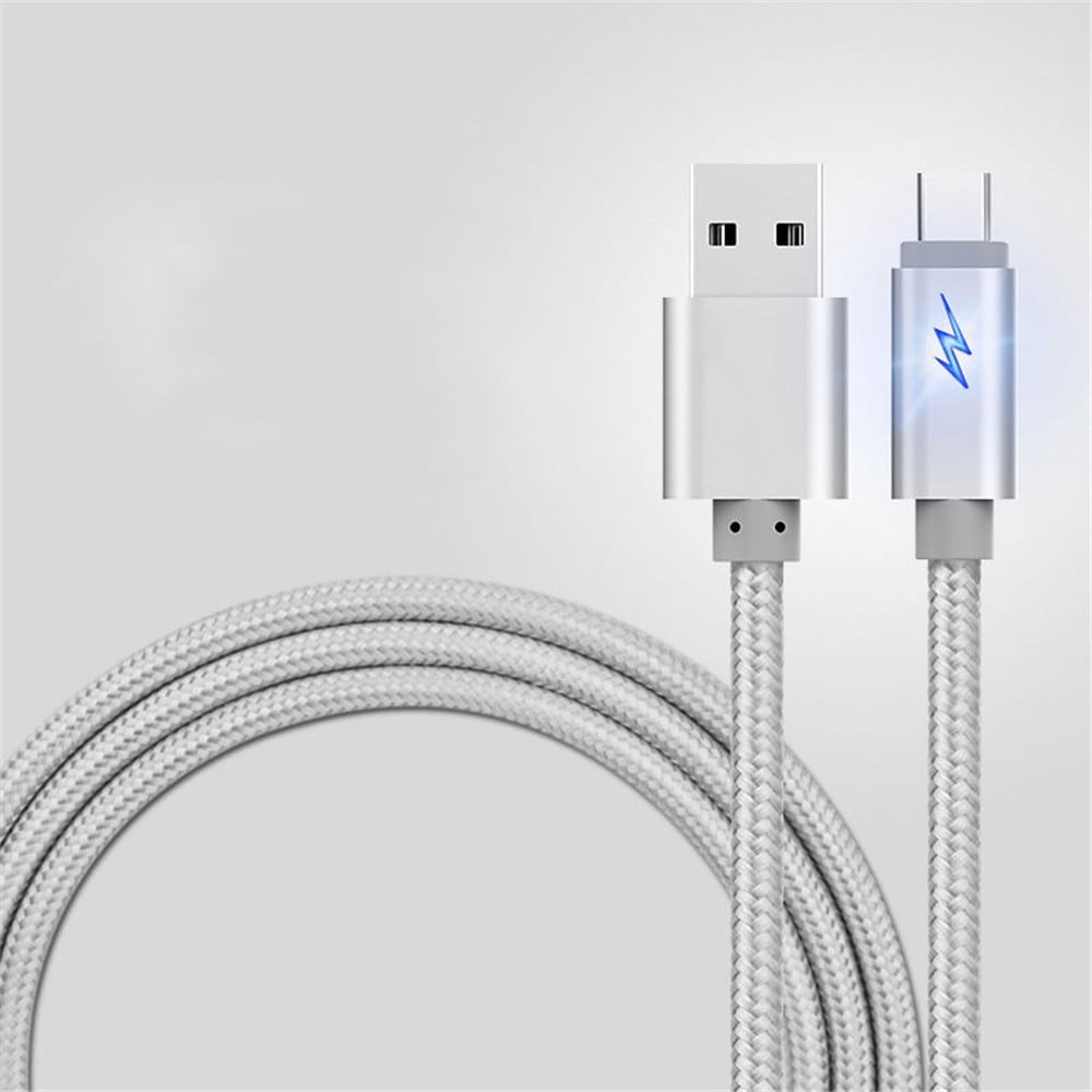 1m Cable for Type-C Led Breath Light Braided Charging Data Charger- Silver