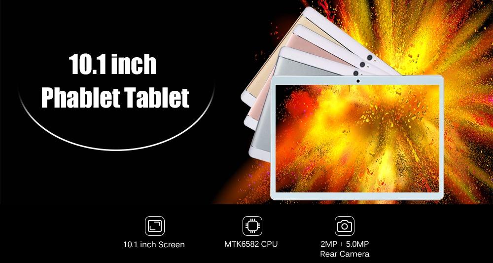 10.1 inch 2G / 3G LTE BT GPS Phablet Tablet PC Android 7.1 MTK6582 Deca Core 1.3GHz 2GB RAM 32GB ROM - Black EU Plug