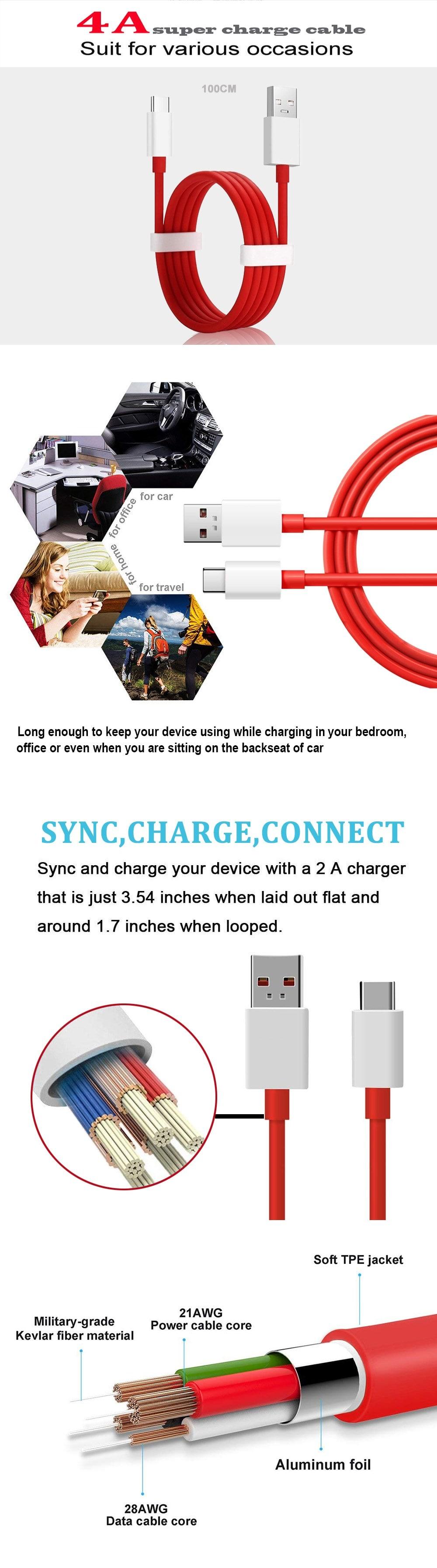 2db 4A gyors töltési adatátviteli kábel az Oneplus 6T / 6 / 5T / 5 / 3T-Red készülékhez