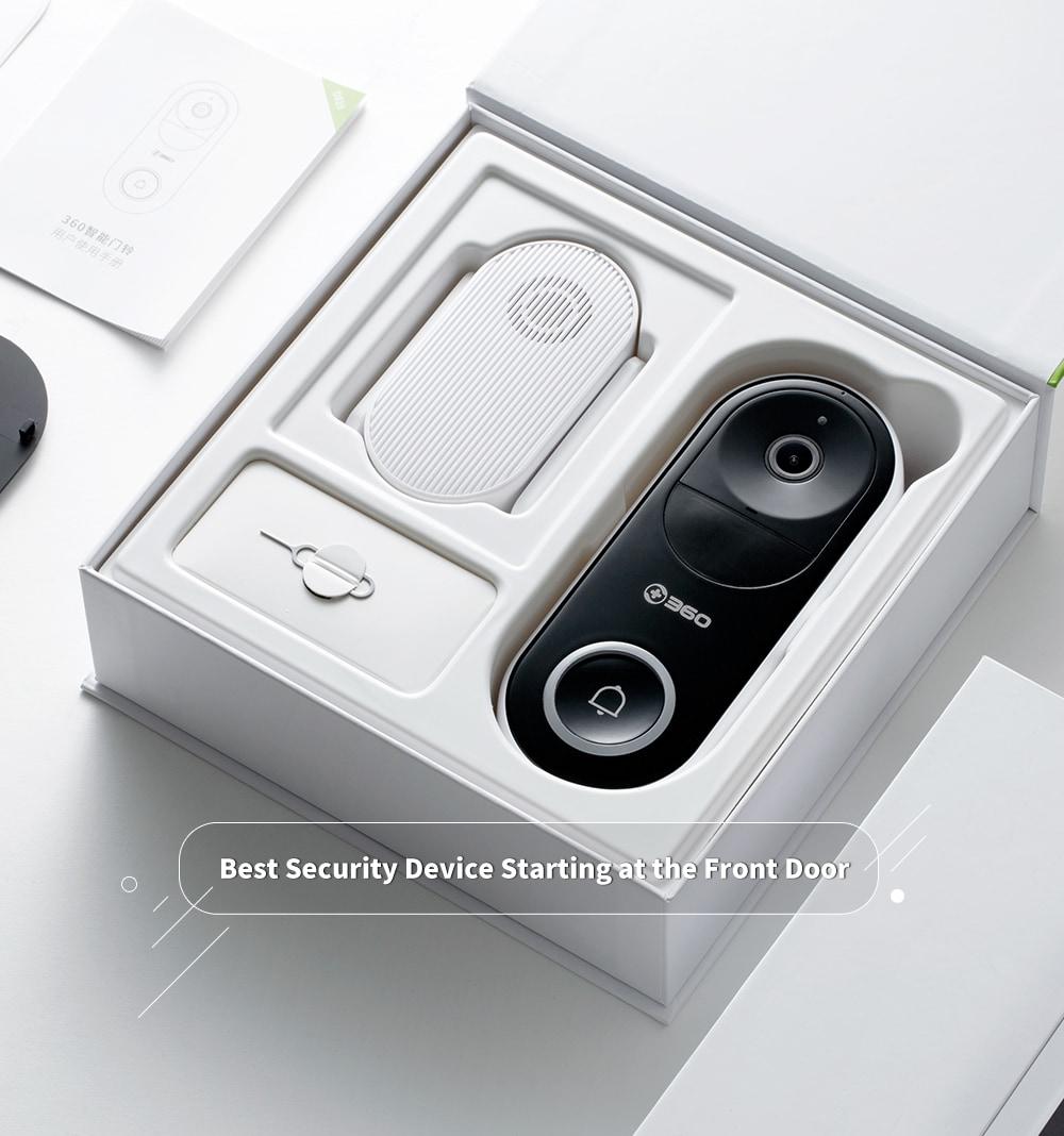 360 D819 távirányító / vezeték nélküli WiFi / látogatófelismerés / videohívás / ultra tiszta éjjellátó intelligens kamera csengő - fekete