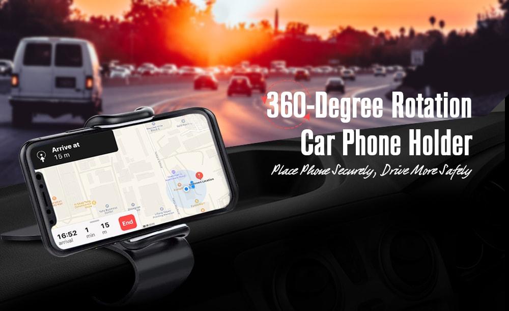 360 fokos többfunkciós forgatható műszerfal rögzítő autós tartó - fekete