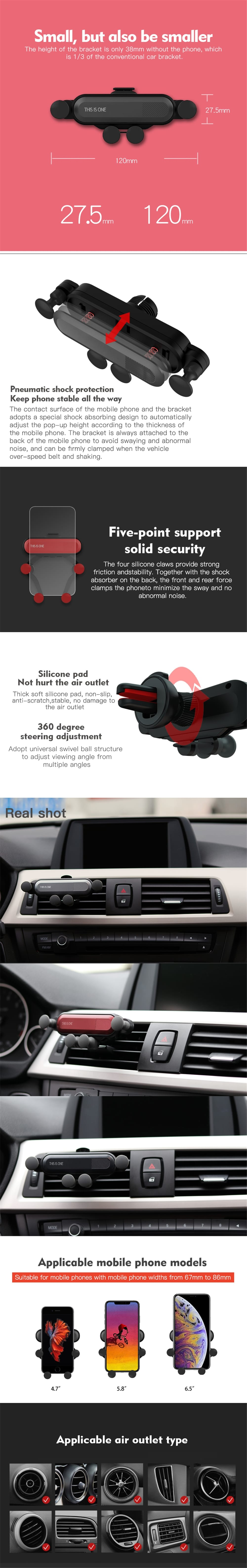 360-Degree Rotation Gravity Car Air Outlet Phone Holder for iPhone- Silver