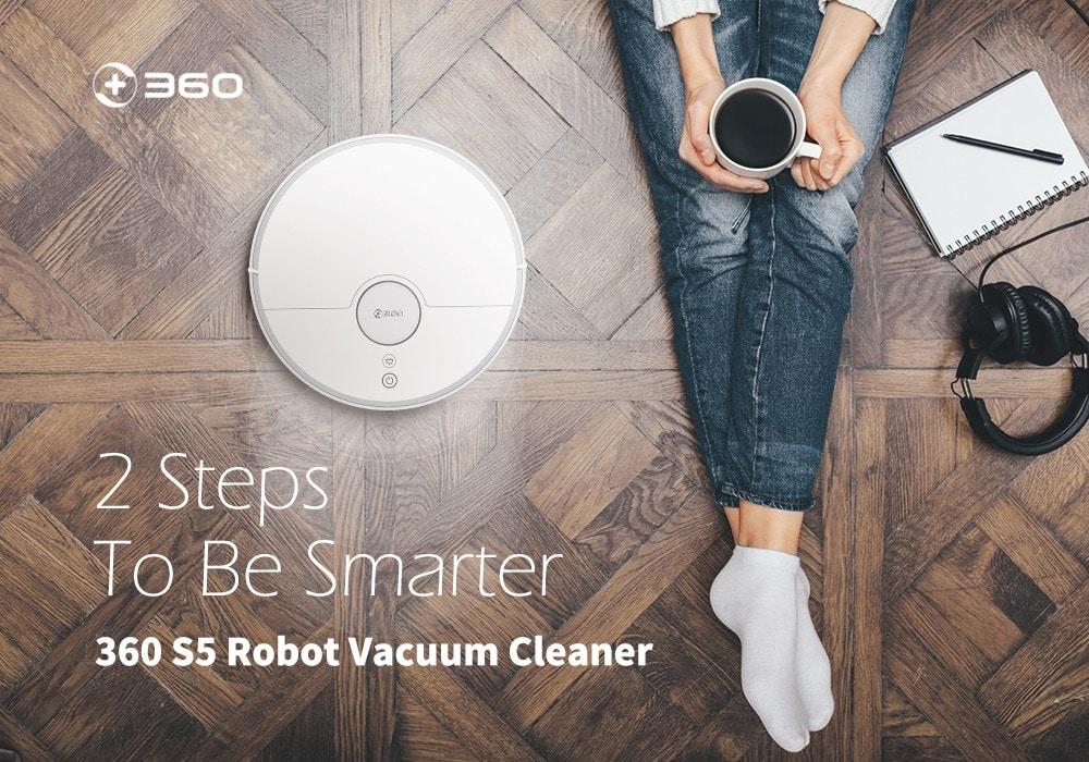 360 S5 lézeres navigáció / nagy szívóképesség / ultra-csendes / térképmemória seprő robot - fehér