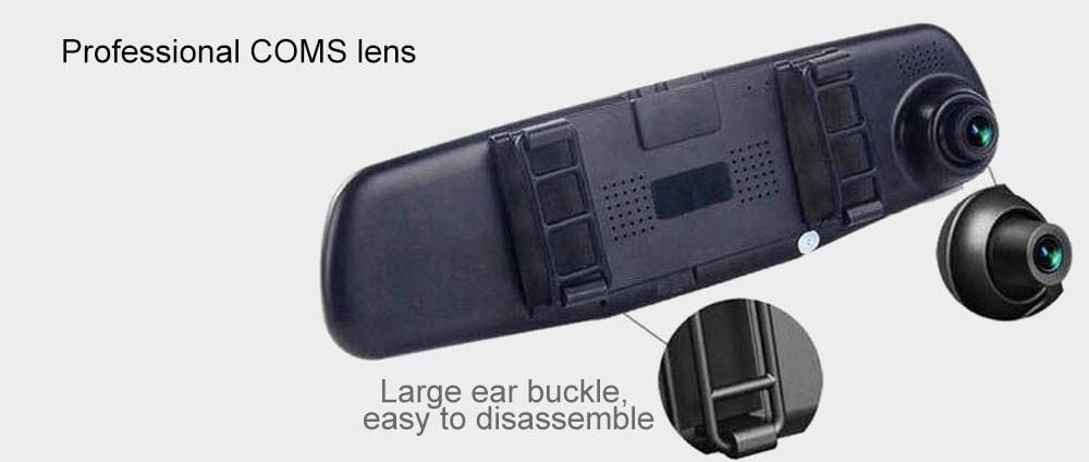 4,3 hüvelykes 1080p kétlencse-visszafelé tartó rögzítő-fekete