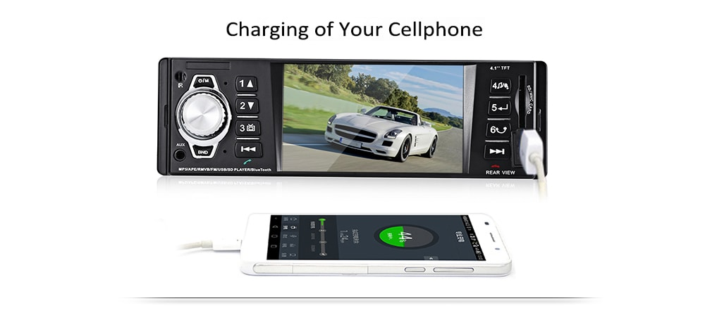 4016C 4.1 hüvelykes HD digitális autós MP5 lejátszó FM rádió USB SD AUX interfészekkel - fekete