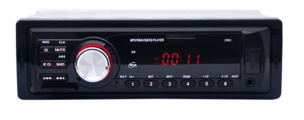 5983 Autórádió 12V Auto Audio sztereó MP3 lejátszó Támogatás FM SD AUX USB-fekete