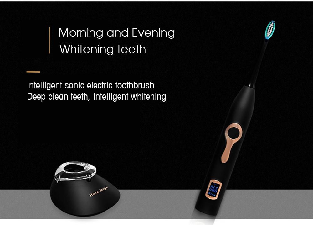 608 Mágneses felfüggesztésű LCD elektromos fogkefe - fekete