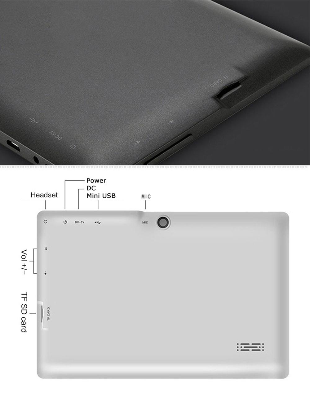 7,0 hüvelyk MINI Gyerek Tabletta 8G IPS HD képernyő négymagos - fehér EU csatlakozó