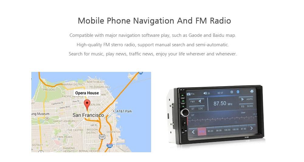 7018B HD nagylátószögű digitális navigátor autó Bluetooth MP5 lejátszó Fordított Audio Video Smart Machine-fekete