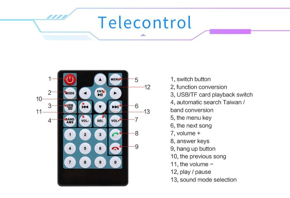 7018G frissítés, 7 hüvelykes kijelző / kihangosító kommunikáció / FM rádió / fordított kép Autós Bluetooth MP5 - fekete
