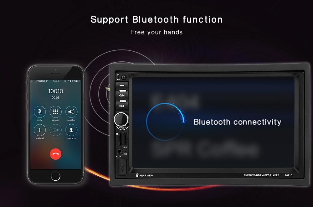 7021G 7 hüvelykes jármű MP5 lejátszó 2 din Bluetooth multimédia FM rádió GPS térkép Távirányító - fekete észak-amerikai térkép