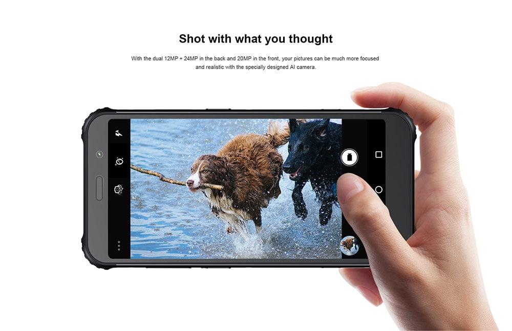 AGM X3 4G Phablet 5.99 inch Android 8.1 Snapdragon 845 Octa Core 8GB RAM 256GB ROM 24.0MP + 12.0MP AI Rear Camera Fingerprint Sensor 4100mAh Built-in- Black