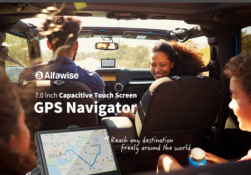 Alfawise 7.0 inch Capacitive LCD Touch Screen Car GPS Navigator with Free Built-in Maps Voice Navigation Media Player- Black Australia DDR256M