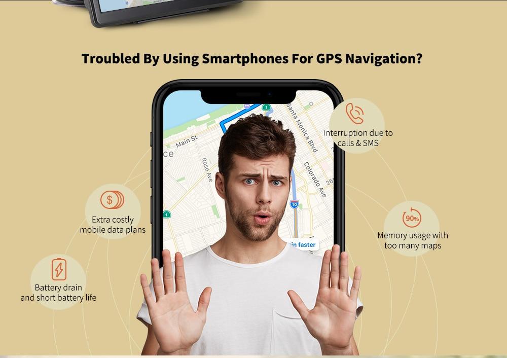 Alfawise 7,0 hüvelykes kapacitású LCD érintőképernyő Autós GPS navigátor, szabad beépített térképekkel Hang navigációs médialejátszó - fekete Európa DDR256M