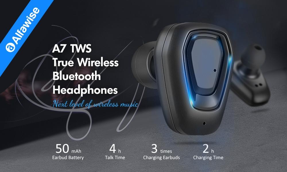 Alfawise A7 TWS vezeték nélküli Mini Earbuds Bluetooth sztereó kétoldali fülhallgató hordozható töltő dokkolóval - fekete
