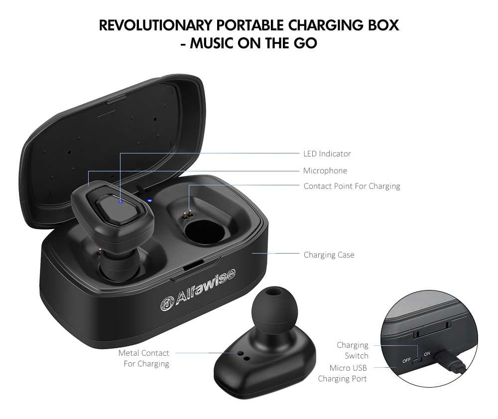 Alfawise A7 TWS Wireless Mini Earbuds Bluetooth Stereo Bilateral Earphones with Portable Charging Dock- Black