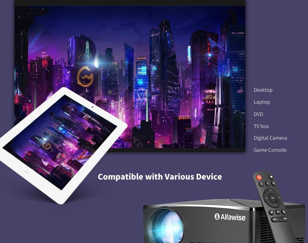 Alfawise A80 2800 Lumens BD1280 Intelligens kivetítő Android 6.0 verzió - Fekete Android USA csatlakozó