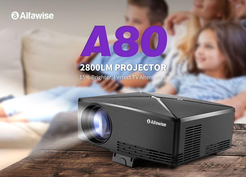 Alfawise A80 2800 lumens BD1280 intelligens kivetítő alapverzió - fekete EU dugó