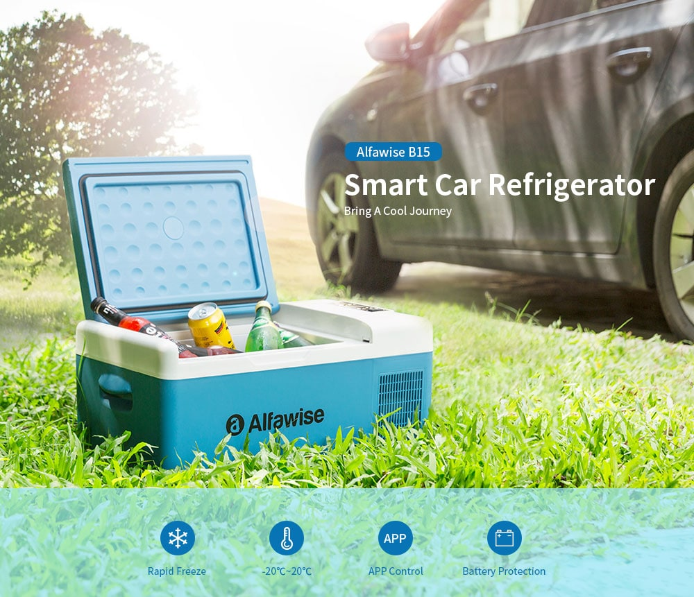 Alfawise B15 Smart Portable Car Refrigerator- Blue Koi EU Plug
