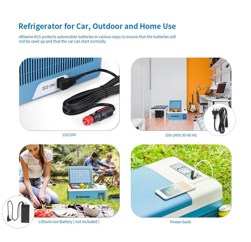 Alfawise B15 15L intelligens autó hűtőszekrény - kék Koi US dugó (2-pólusú)
