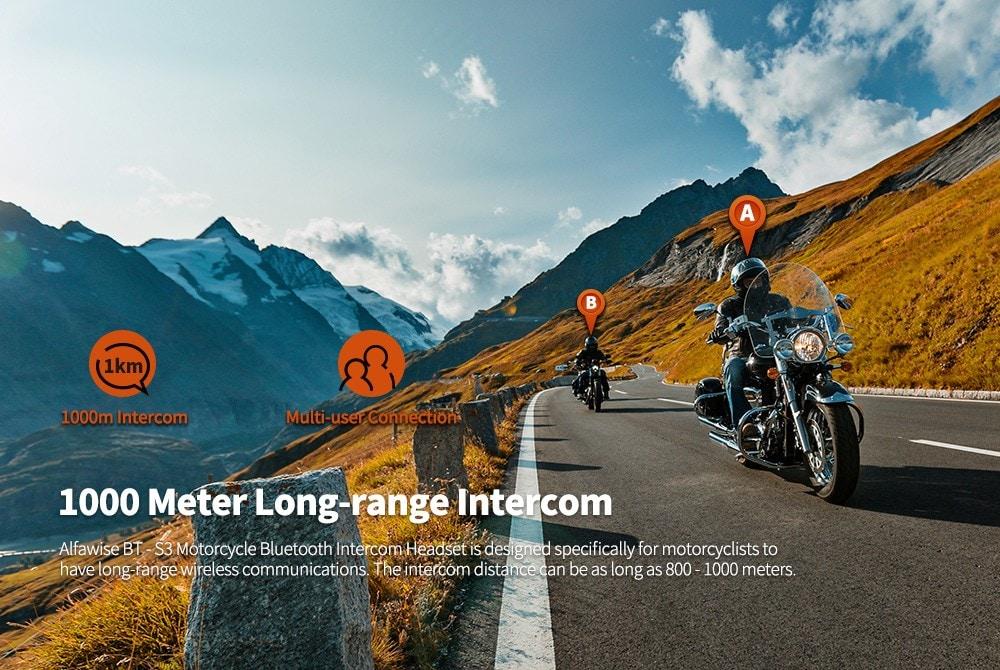 Alfawise BT - S3 1000m Motorcycle Helmet Intercom Headset Bluetooth Interphone 2pcs- Black