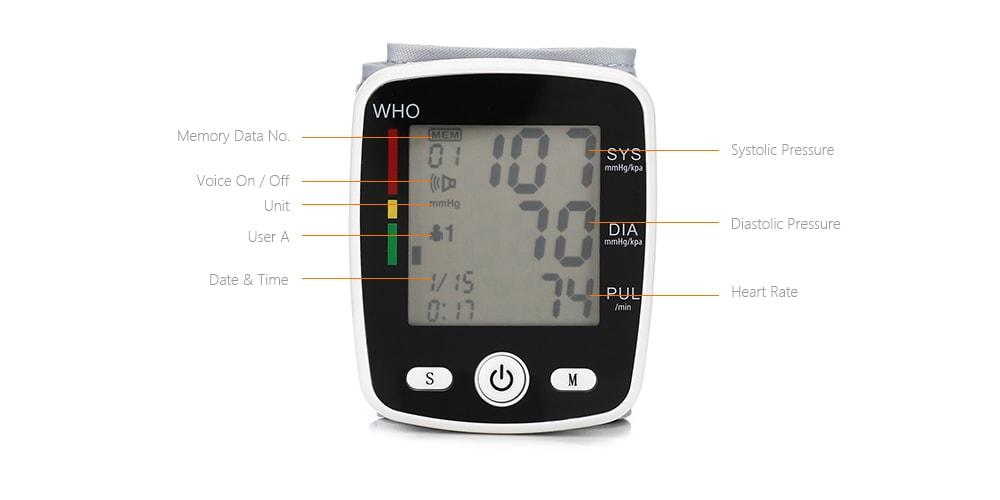 Alfawise CK W355 csukló vérnyomás mandzsetta monitor - tejfehér