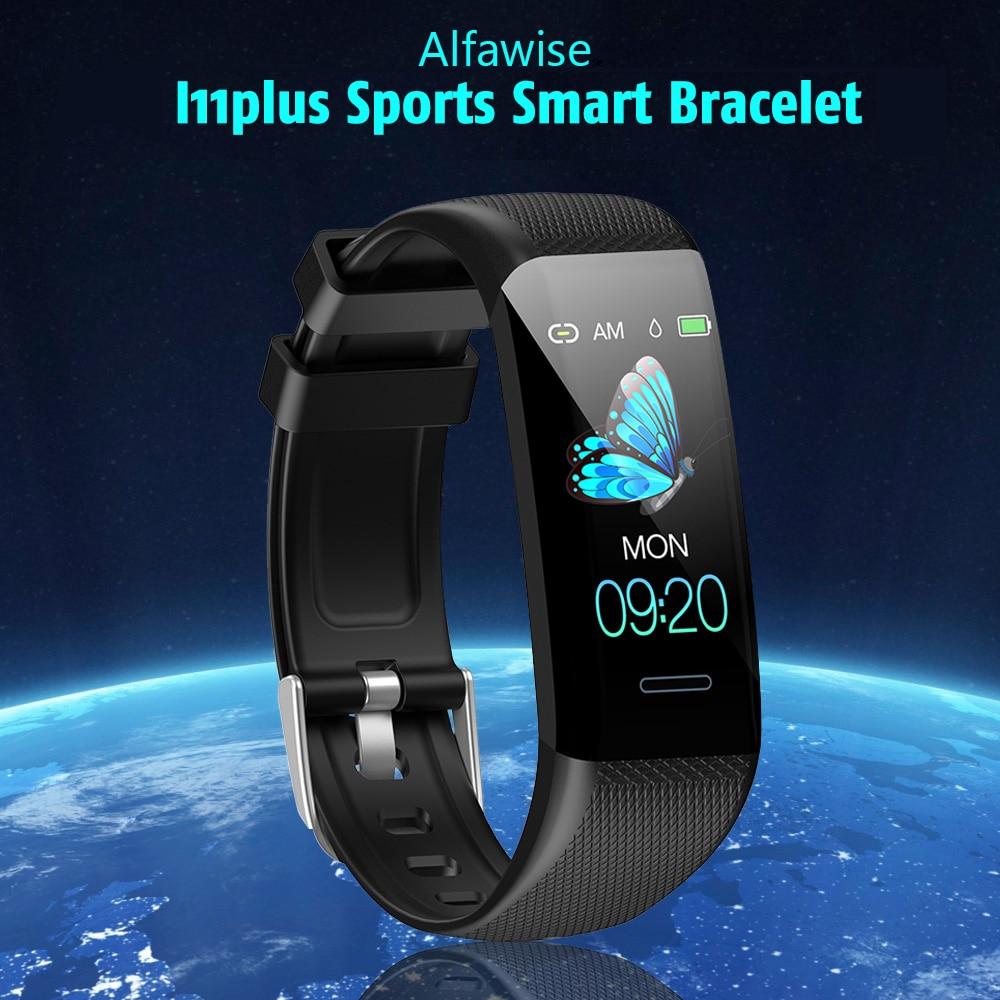 Alfawise I11plus 1,14 hüvelykes HD színes képernyő / pulzusszám / vérnyomásmérő sport intelligens karkötő - fekete