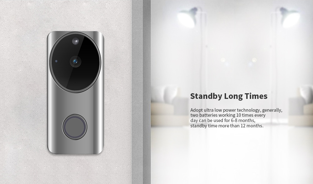 Alfawise L9 Plus 2.4GHz / Wide-angle Lens / Rechargeable Battery / Night Vision / Two-way Talk / PIR Motion Detection 1080P HD WiFi Video Doorbell- Silver
