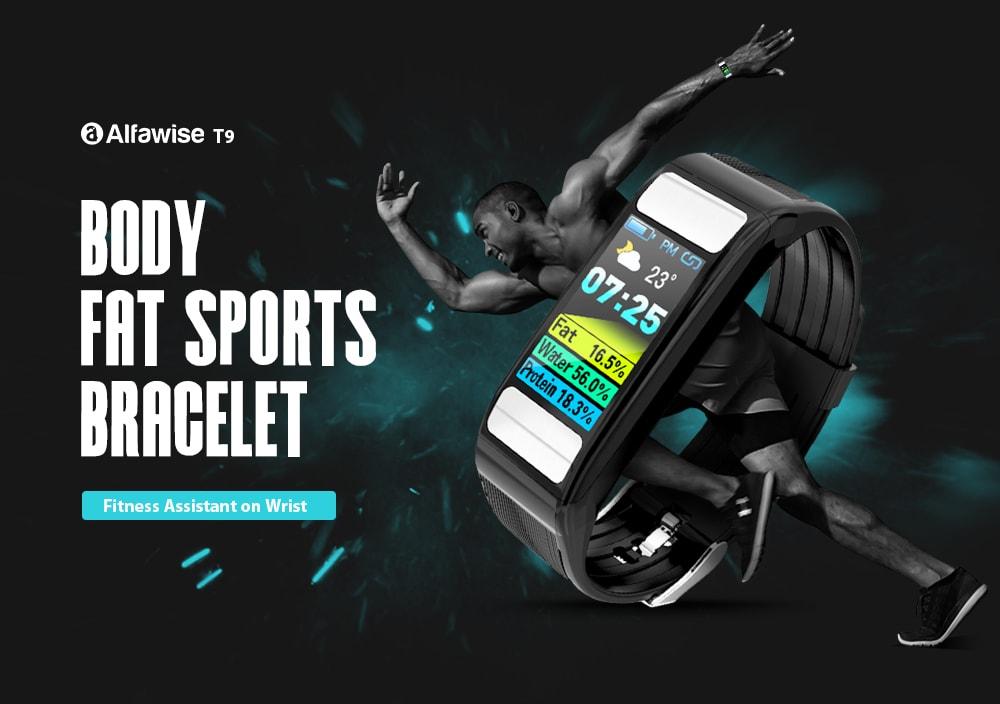 Alfawise T9 testzsír Sport intelligens karkötő - fekete