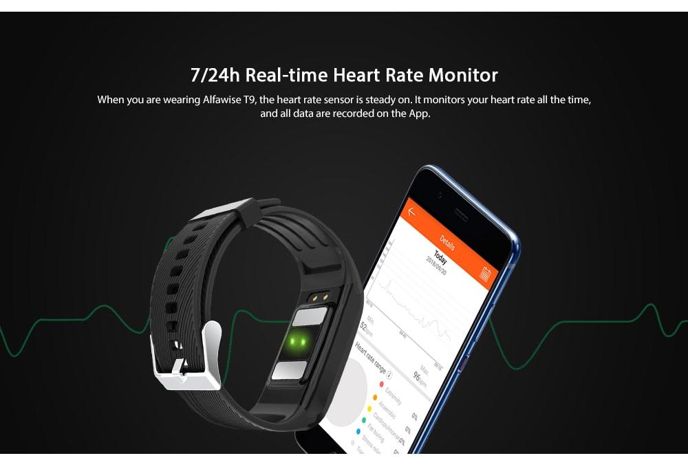 Alfawise T9 Body Fat Sport Smart Bracelet- Gray