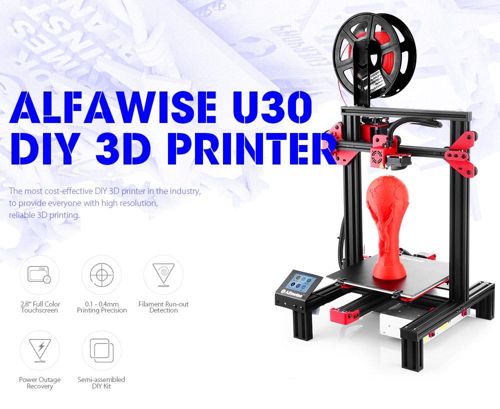 Alfawise U30 DIY 3D nyomtató 220 x 220 x 250 mm extruderrel 1,75mm 0.4mm fúvóka - fekete EU csatlakozó