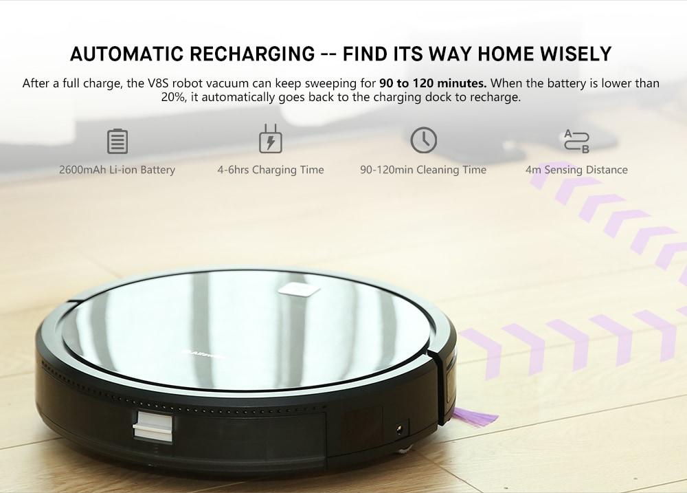 Alfawise V8S Robot Porszívó Dual SLAM Intelligens Gyroscope Navigáció-Fekete