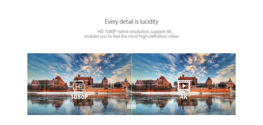 Alfawise X LCD Projektor HD 1080P / 3200 Lumen Támogatás 4K- Fehér Alapvető változat (EU PLUG)