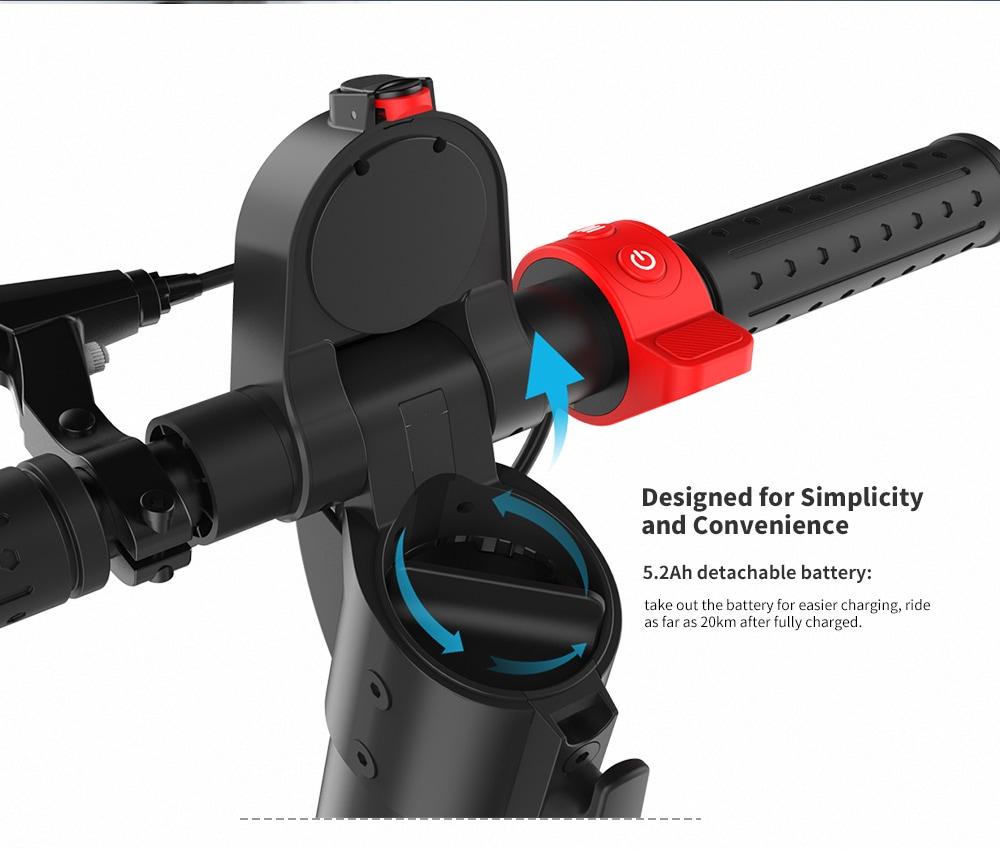 Alfawise X7 Europe szabványos összecsukható elektromos robogó eltávolítható töltő akkumulátorral - fekete 5200mAh