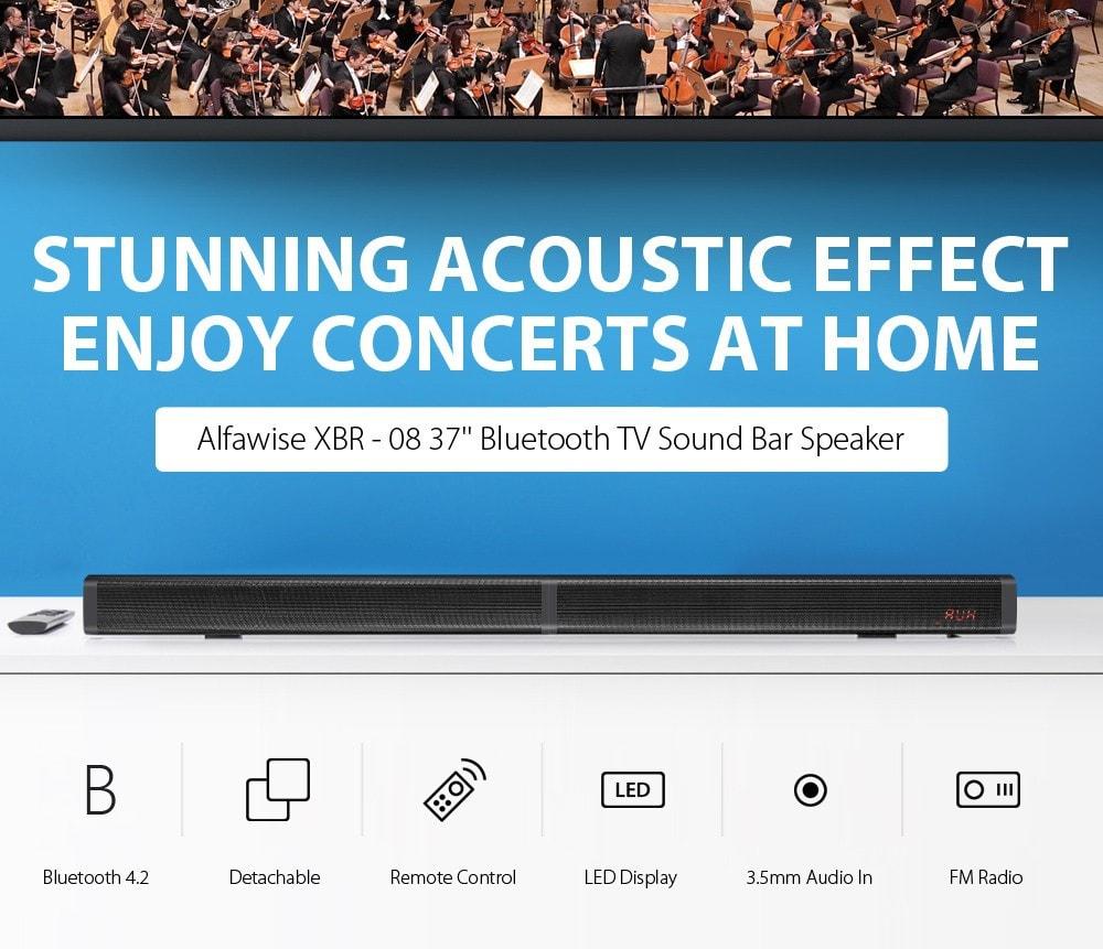 Alfawise XBR - 08 Hangcsíkok TV hangsávhoz Bluetooth 4.2 hangszórók - fekete