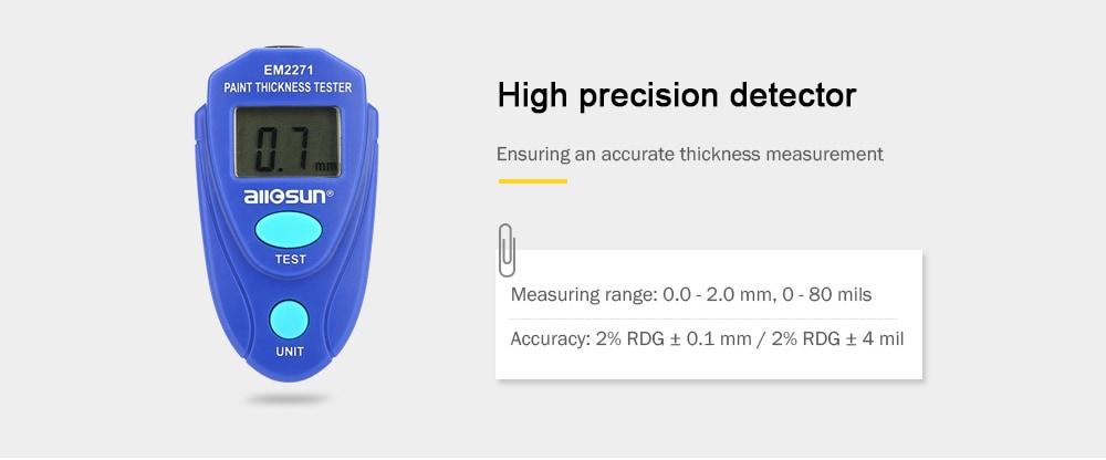 all-sun EM2271 Bevonat vastagságmérő Digitális vas alapú horganyzott réteg festék Film-óceán kék