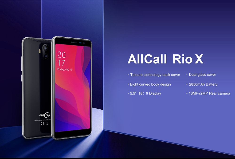 AllCall Rio X 3G Phablet 5.5 inch Android 8.1 MTK6580M Quad Core 1GB RAM 8GB ROM 13.0MP + 2.0MP Rear Camera 2850mAh Built-in European Union- Black European Union