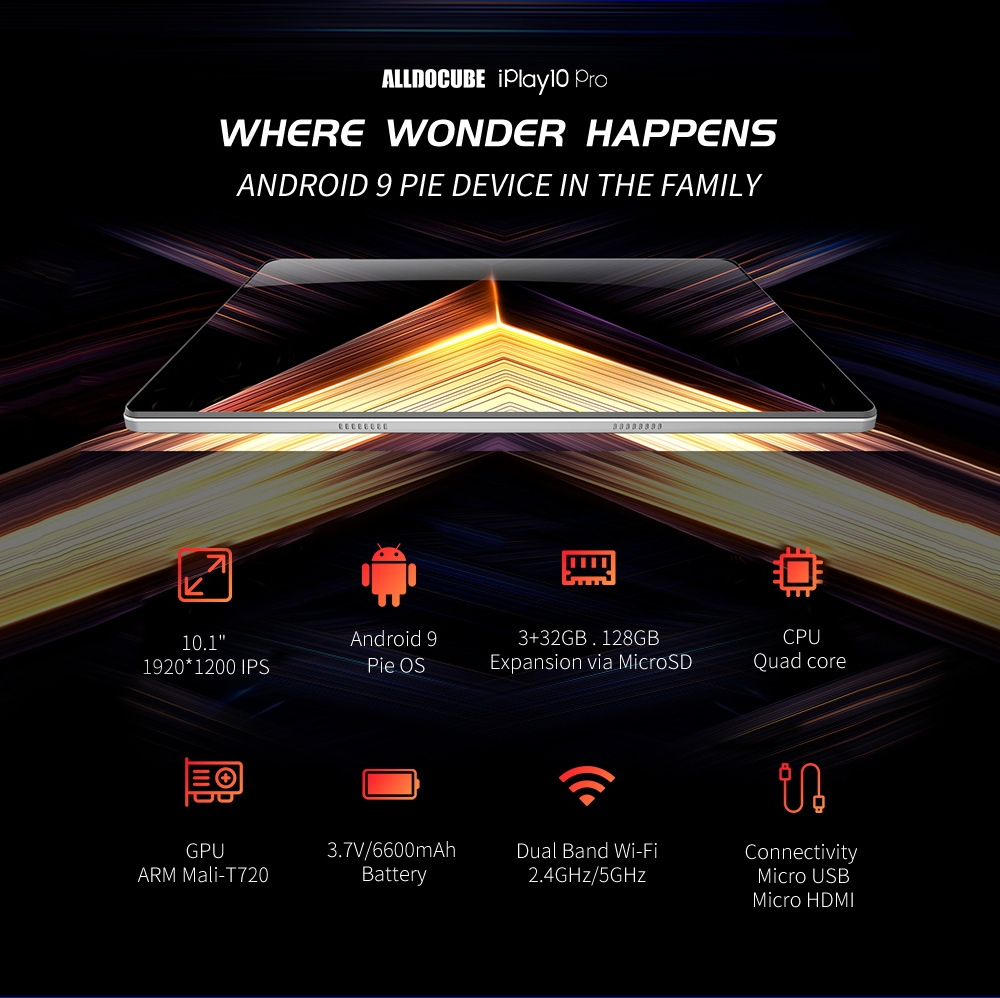 ALLDOCUBE iPlay10 Pro Carper 10.1 inch Android 9.0 3GB RAM 32GB ROM Media Tablet PC- White