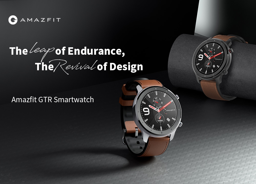 AMAZFIT GTR intelligens karóra 47mm 50 méter vízálló 12 sportmód - barna 47mm rozsdamentes acél tok