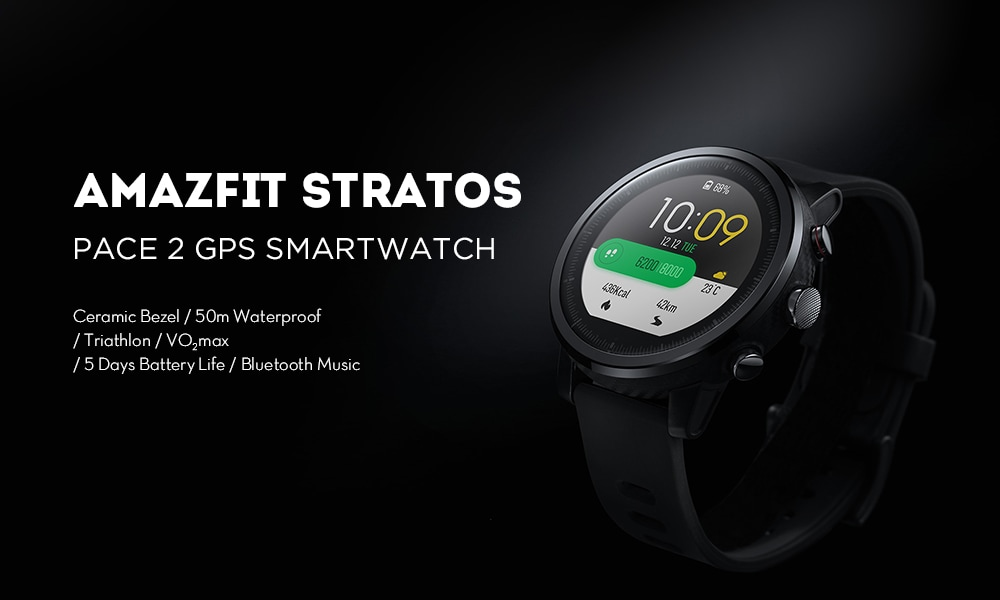 Original AMAZFIT Stratos / Pace 2 Smartwatch Running Watch GPS Xiaomi Chip Bluetooth 4.2 ( Xiaomi Ecosystem Product )- Black