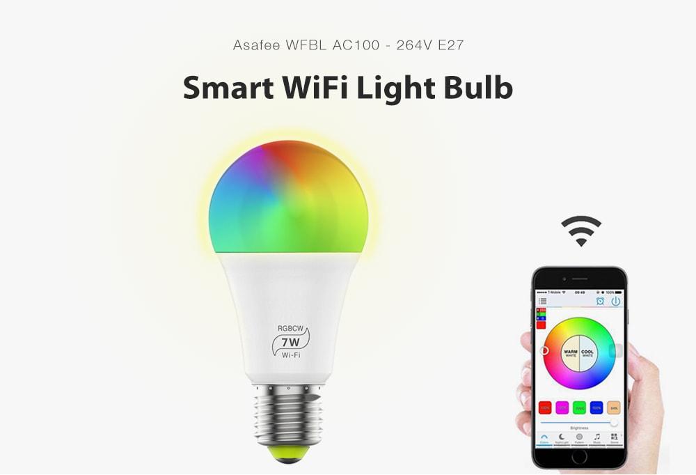 Asafee WFBL AC100 - 264V 7W intelligens WiFi izzó - fehér