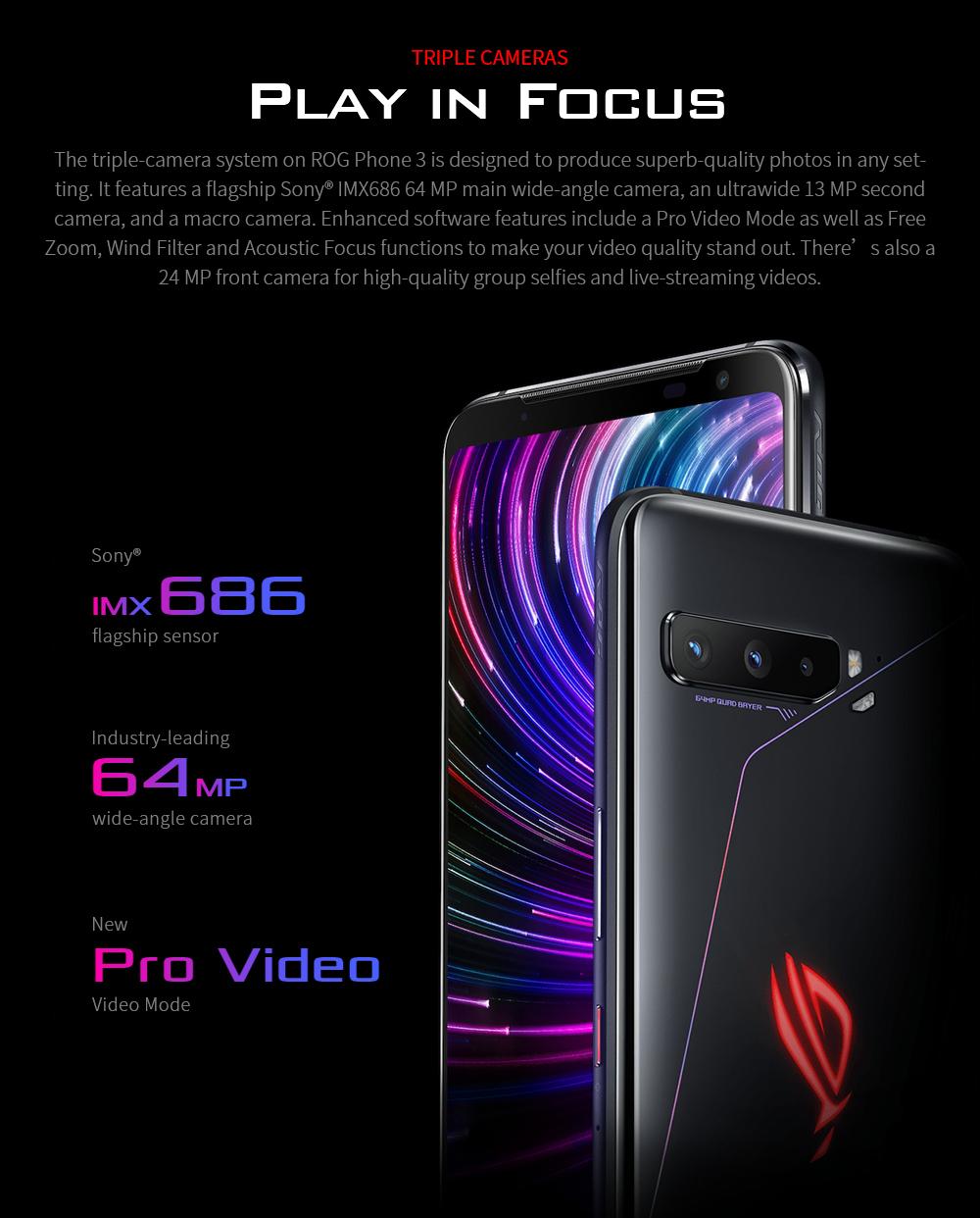 ASUS ROG Phone 3 Gaming 5G Smartphone TRIPLE CAMERAS