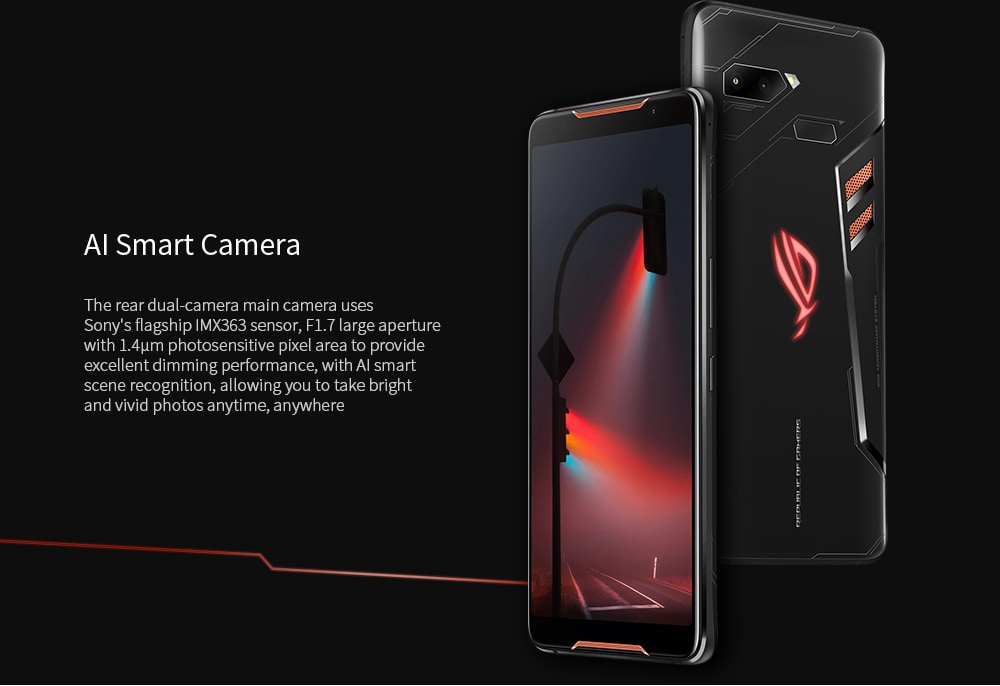 ASUS ROG ZS600KL Gaming Phone 4G Phablet 6.0 inch Android 8.1 Qualcomm Snapdragon 845 Octa Core 8GB RAM 128GB ROM 12.0MP + 8.0MP Rear Camera 4000mAh Battery- Black Standerd Version