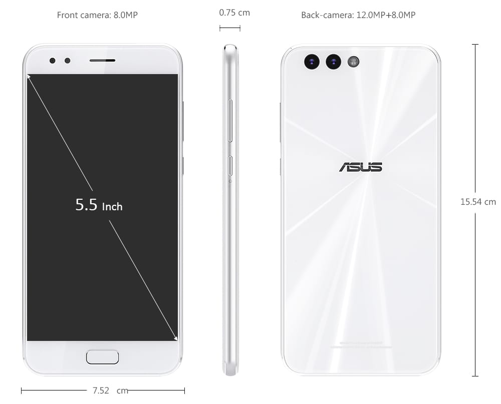 ASUS ZenFone 4 ( ZE554KL ) 4G Phablet 5.5 inch Android 7.0 Snapdragon 630 Octa Core 2.2GHz 4GB RAM 64GB ROM 12.0MP + 8.0MP Rear Camera Fingerprint Sensor 3300mAh Built-in- Mint green